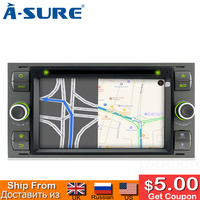 A Sure 2 Din Car Auto Radio GPS DVD Player Navigation For Ford Transit Focus Galaxy S Max C Max Fusion Fiesta SWC Bluetooth