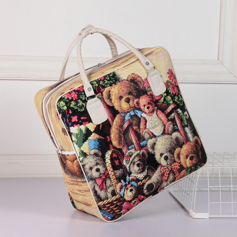 Image 4 - PU Leather Travel Bag Women Girl Cute Duffle Pouch Weekend Overnight Cartoon Shoulder Tote Portable Luggage ItemTravel Bags   -