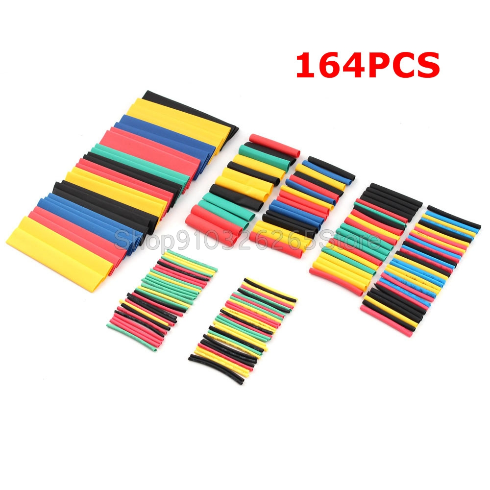164PCS Heat Shrink Tube Kit Shrinking Assorted Polyolefin Insulation Sleeving Polyolefin Heat Shrink Tubing Wire Cable Kit 2:1