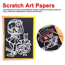 20pcs Magic Color Scratch Art Paper Cards Painting Coloring for Children Drawing Toys Set Educational  9.4*12.9cm