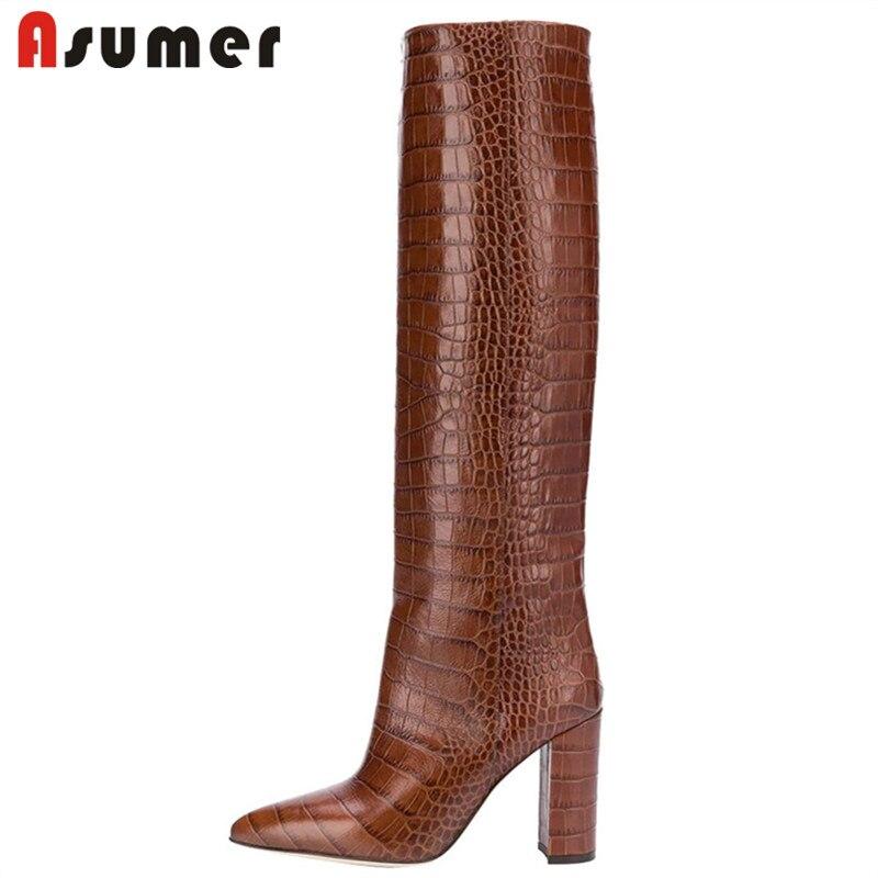 ASUMER 2020 nouvelle marque femmes genou bottes hautes bout pointu sans lacet Style européen talons hauts chaussures mode bottes longues femme