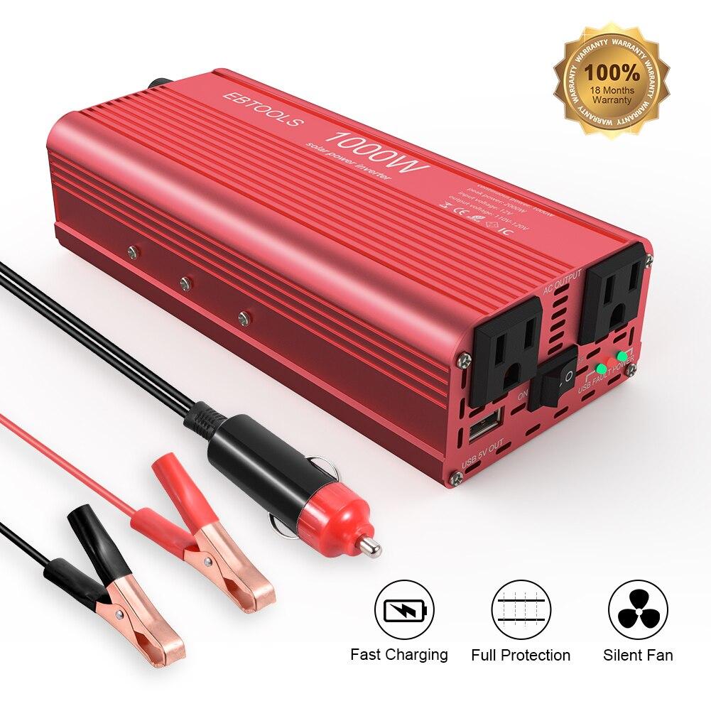 Onduleur de voiture EBTOOLS 1000 W/2000 W onduleur 12 V-110 V convertisseur de voiture avec 2 AC Out intégré remplaçable 40A mini fusible