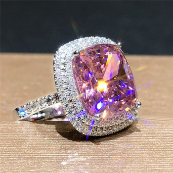 Huitan Personality Big Pink Cubic Zirconia Wedding Rings for Women Romantic Bridal Marriage Ceremony Party Rings Fashion Jewelry 1