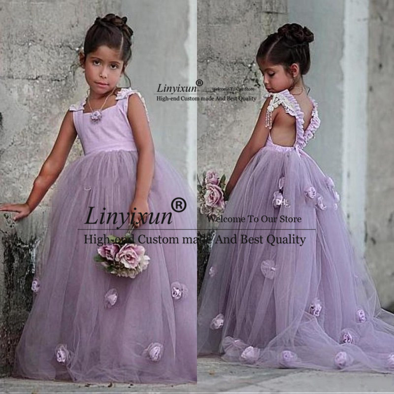 Beautiful Lavendar   Flower     Girls     Dresses   Tull With 3D   Flowers     Girls   Pageant Gowns for Kids Wedding Party communion   dresses