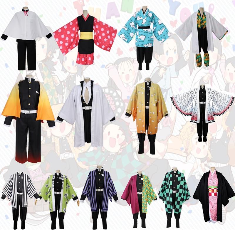 Demon Slayer: Kimetsu No Yaiba Rengoku Kyoujurou Uniform Cosplay Costumes Tokitou Muichirou Kimono Kamado Nezuko Cosplay Wigs