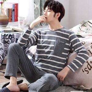 Image 4 - Yidanna cotton pijama set for men Tshirt O neck plus size underwear long sleeved pajama sleepwear clothing winter nightwear male