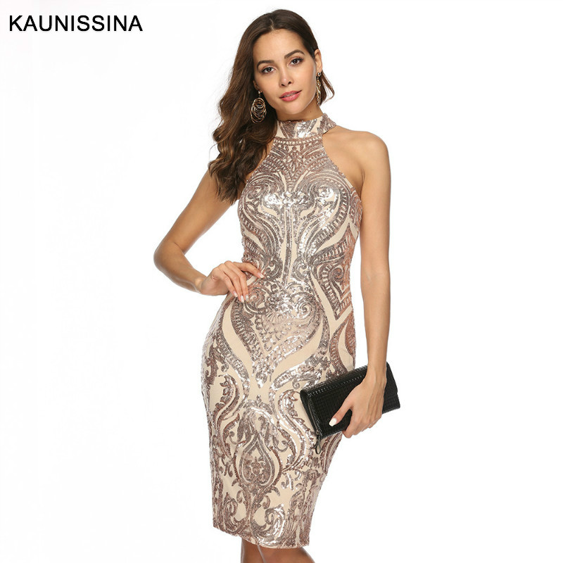 KAUNISSINA Sexy Party Gown Cocktail Dresses Sequin Halter Neck Sleeveless Slim Bodycon Homecoming Robe Gold Cocktail Vestidos