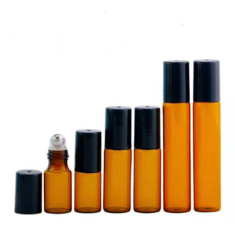 5pcs/Set 3ml 5ml 10ml Amber Glass Roll Refillable Bottle Sample Test Essential Oil Vials with Roller Glass Ball Travel Set