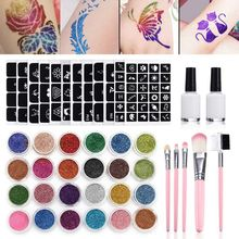 Diamond Glitter Tattoo Set Powder Makeup Brush Glue Body Art Kit New
