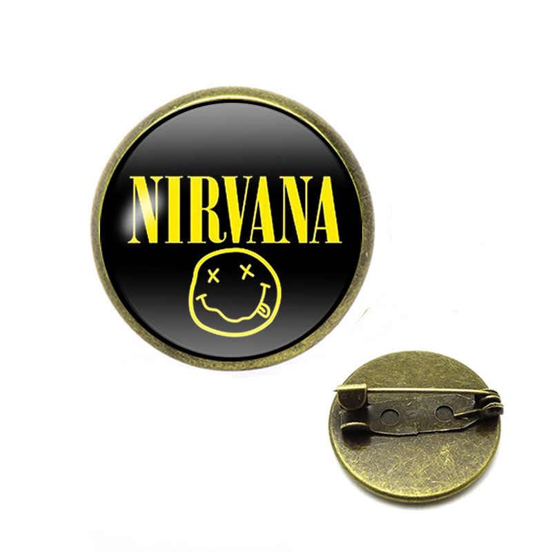 Rock Band Sorriso Nirvana Band Spille Cabochon In Vetro Pendente Spilli Commercio All'ingrosso Dei Monili di Musica Rock Ventole Regali
