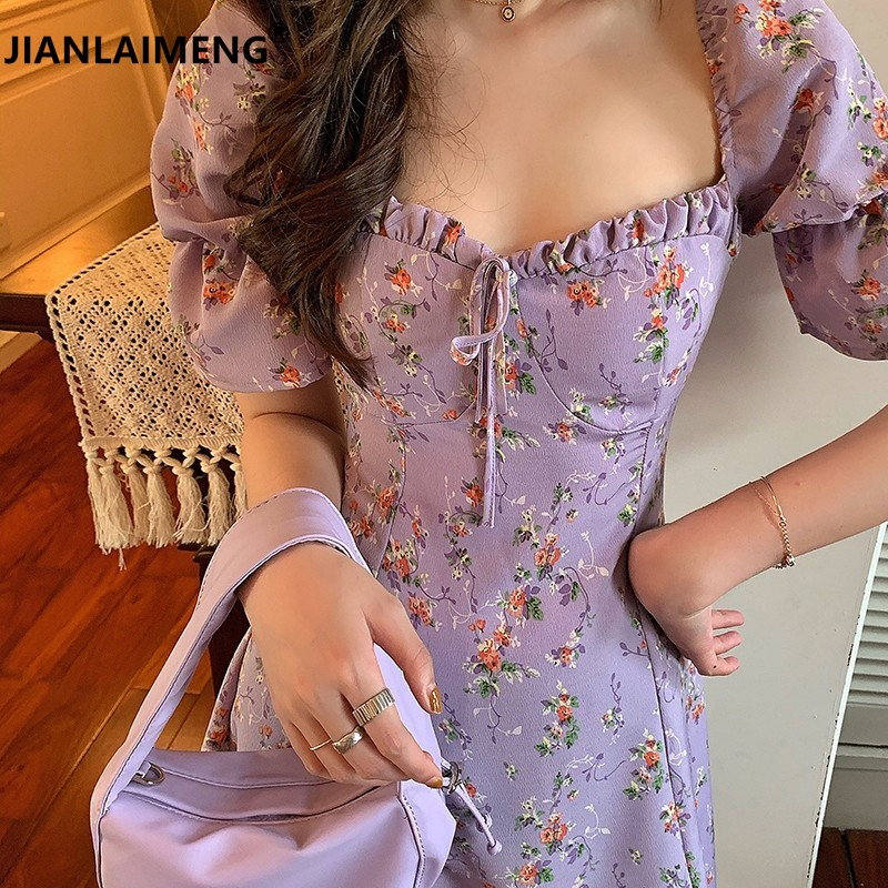 New Women Summer Square Collar Lavender Chiffon Mini Dress Sexy Ruffle Puff Sleeve A-line Short Floral Sundress Dress Elegant