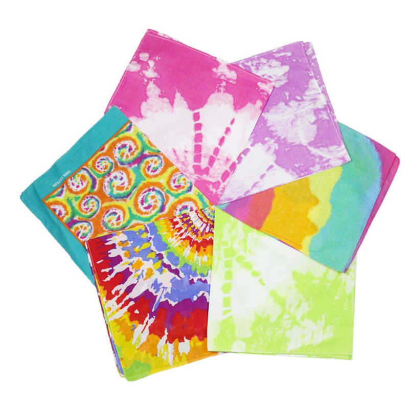 Women Men Boho Tie-Dye Gradient Bandana Head Wrap Rainbow Colorful Swirl Print Square Scarf Hip Hop Street Punk Style Wristband