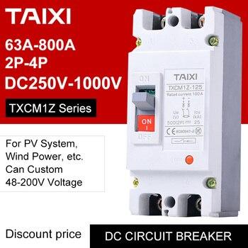 Circuito de CC interruptor CB 2P 3 4 polos V 48V 72V 96V 200V 250V 750V 1000V Tensión de 100A 160A 200A 250A 400A 630A PV Protector Solar 1