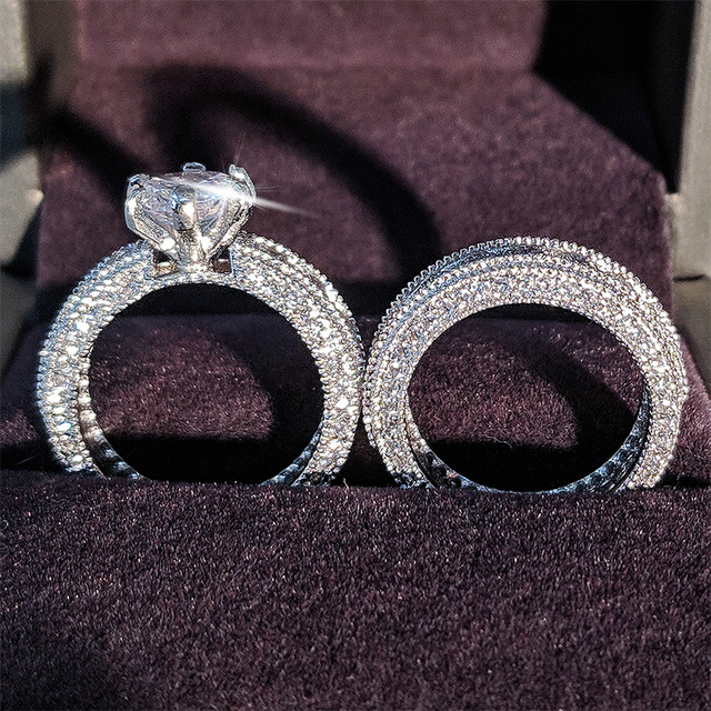 925 Sterling Silver luxury bold big wedding Rings set for bridal Women Engagement african finger christmas gift Jewelry r4428 4