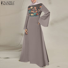 Primavera zanzea casual vintage vestido longo feminino alargamento manga o pescoço vestido bordado retalhos crochê kaftan zip robe