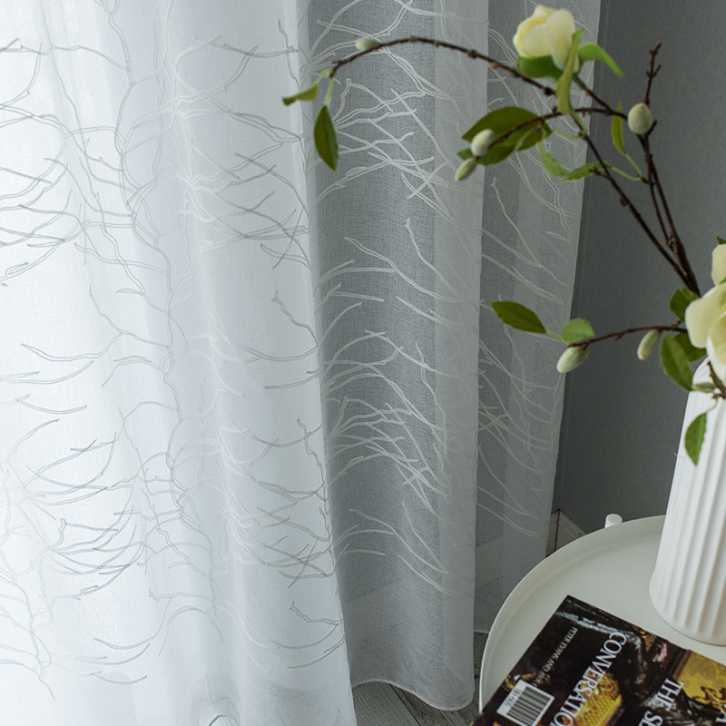 ENHAO White Tulle Curtains For Living Room Kitchen Tree With Embroidered  Voile Sheer Window Screen Curtain For Bedroom  Drapes