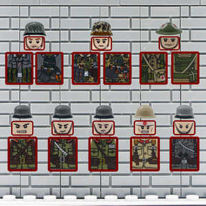 WW2 Army Military Building Blocks Figures weapon gun German British Mini Soldier Accessories Helmet Bricks Toys 98k Parts Bulk(China)
