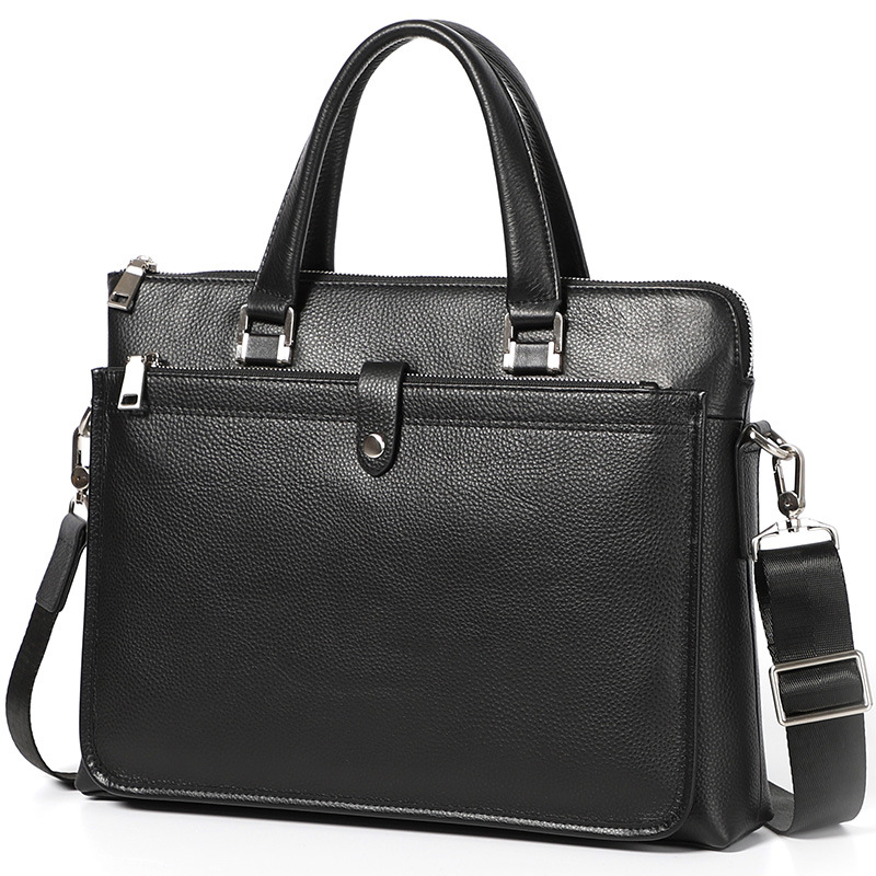 Men Briefcase Real Genuine Leather Bag High Quality Black Business Shoulder Bag Fashion Office Bag