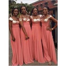 Coral Bridesmaid Dresses Long V Neck Sequins Chiffon dress Sleeveless Floor Length For Wedding