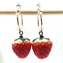 1 Pair of Mini Fruit Strawberry Earrings, Resin Fine Earrings Wicca Lover Jewelry DIY Handmade