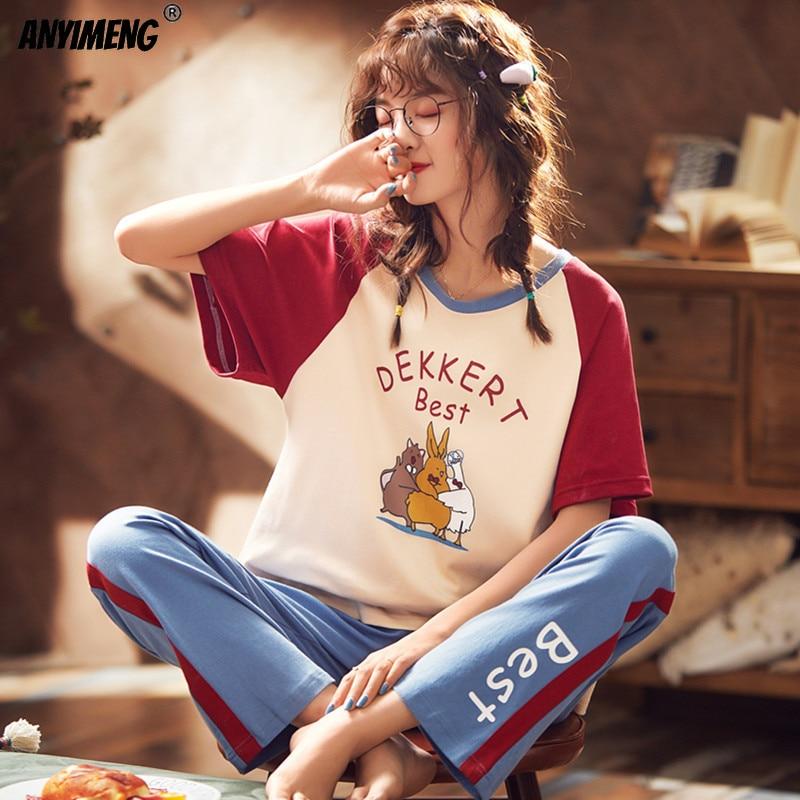 Fashion Printing Cotton Suits Women Set Homesuit Homeclothes Short Sleeve Long Pants Casual Sleepwear Kawaii Teen Girls Pajamas