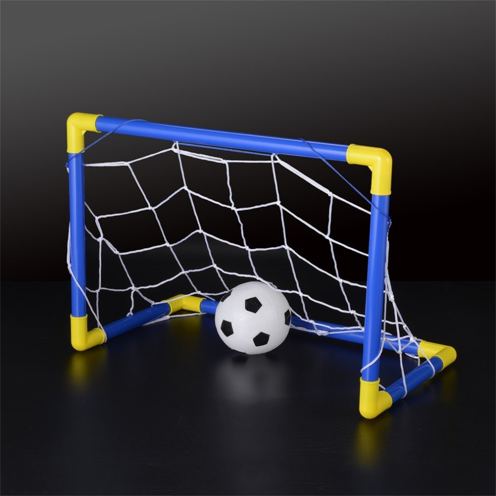 Outdoor Games Toys Folding Mini Football Soccer Ball Goal Post Net Set Pump Kids Sport Indoor Home Child Birthday Gift Plastic