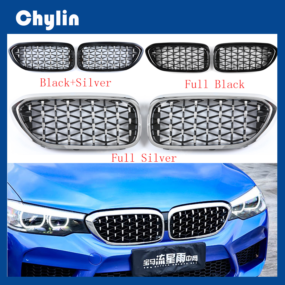 For Bmw F52 F45 <font><b>F30</b></font> F10 G30 F34 F49 G01 F15 F16 E70 E71 G20 E90 Z4 E89 Car Tuning Front Diamond Kidney Silver <font><b>Grill</b></font> Mesh Grille image
