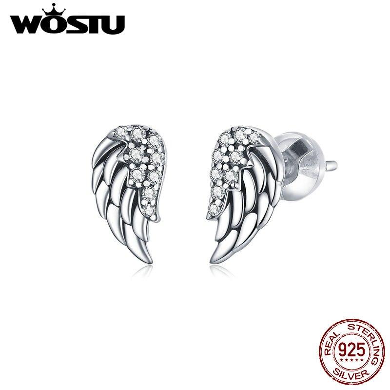 Pendientes de plumas de wastu, pendientes de tuerca de alas de Ángel Retro de Plata de Ley 925 para mujer, joyería de zirconia cúbica CZ en plata CQE882
