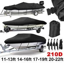 11ft-22ft 210D Trailerable Чехлы для лодок водонепроницаемые непромокаемые защита от солнечных лучей защита для катера, покрытие для рыбалки, лыж D45