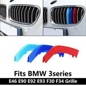 Car Grills Parts For BMW e46 sedan e90 320 i e92 e93 f30 GT F34 3 Series Accessories M 3 color sprot Grille Insert Trims Strip