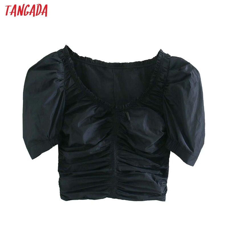 Tangada Women Retro Black Pleated Crop Blouse Short Sleeve 2020 Summer Chic Female Sexy Slim Shirt Tops 4M150