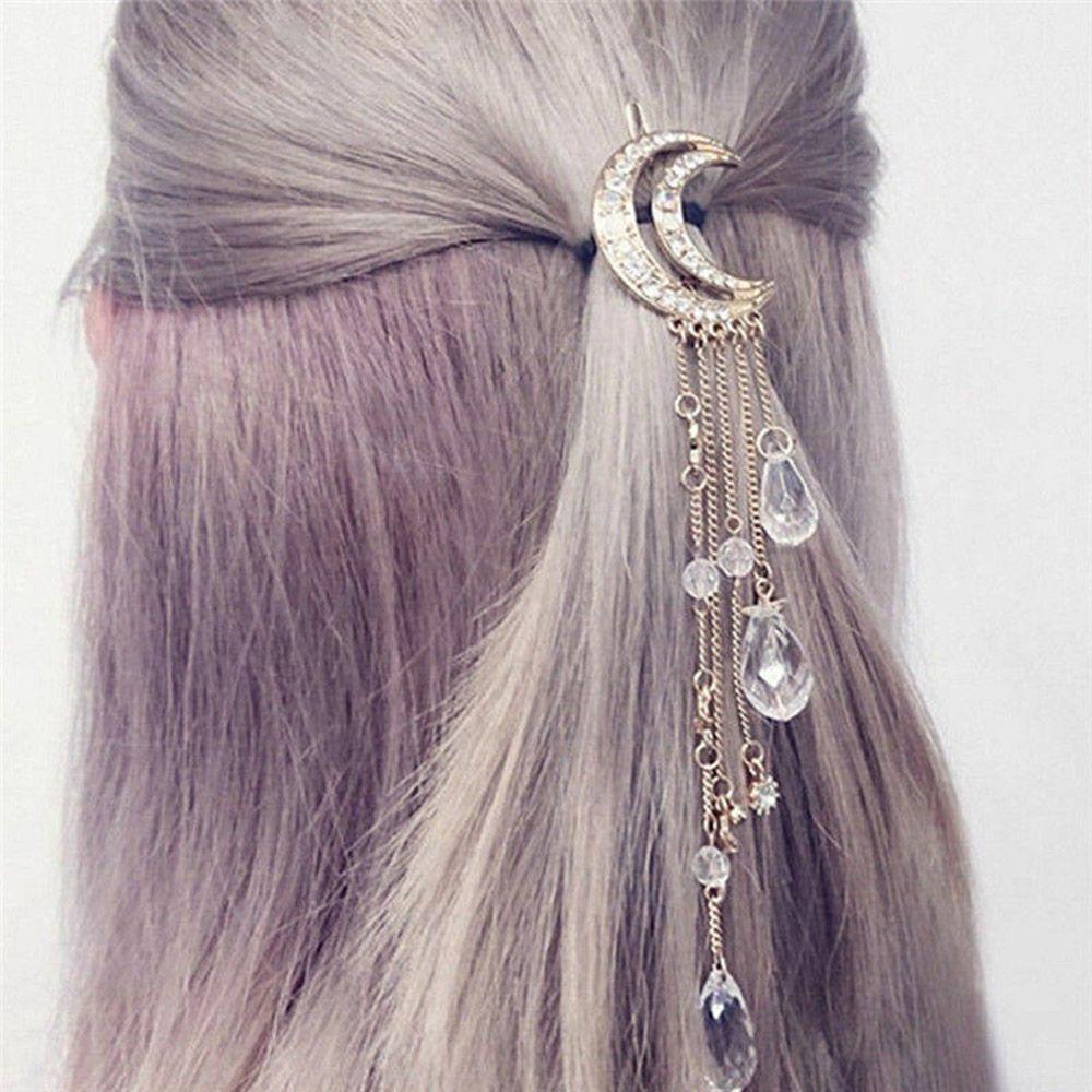 2019 New Fashion Women Hair Clip Pendant Hairpin Inlaid Zircon Moon Alloy Tassels Retro Hairdo Sweetness Hair Accessories