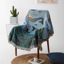 Blanket Throw Travel Slipcover Stitching Plane Mermaid-Pattern Multifunction Vintage