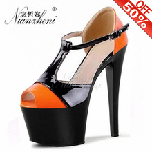 15cm High-Heeled Sandals Bride Color Block Wedding Shoes Platform Steel Pipe Dance Shoes 6 inch T-Strap Sexy Fashion Shoes sexy fashion models to shoot steel pipe shoes shoe stage shows black high heeled shoes bride wedding sandals
