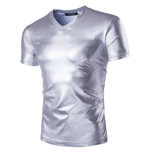 Męska 2019 Sexy zabawa lakierki luksusowe czarne złoto T-Shirt topy koszulki mężczyźni wyglądające na mokre lateksowe DS klub nocny t-shirty Streetwear