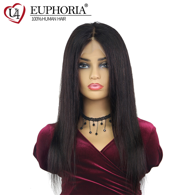 13x4 Straight Natural Color Lace Frontal Wigs Brazilian Human Hair Wig For Women Pre-plucked Natural Hairline Remy Wigs EUPHORIA