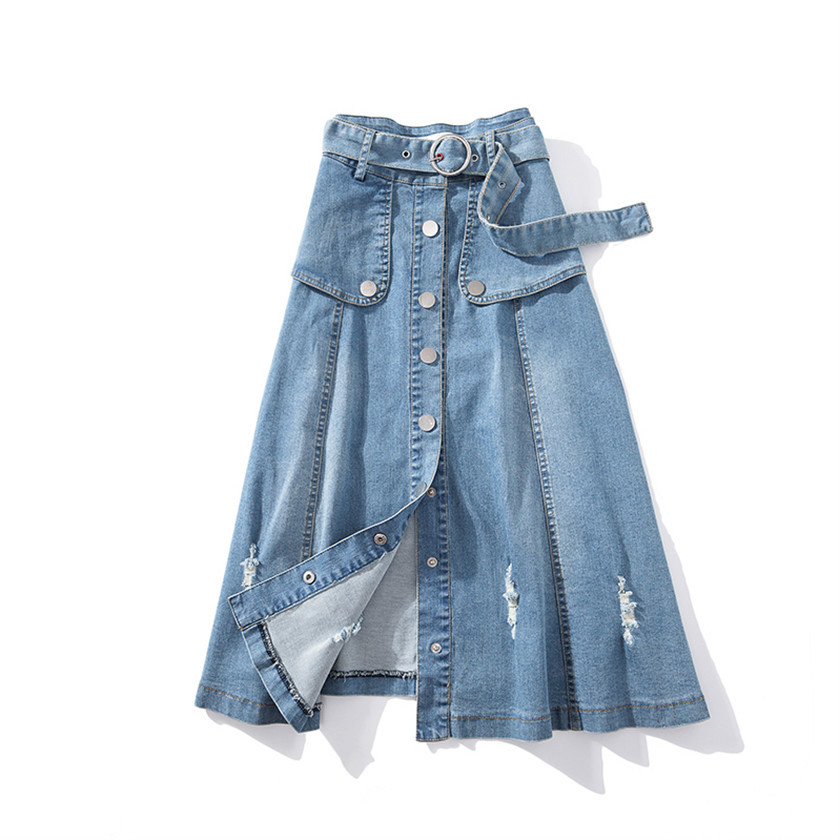Yocalor 2019 Fashion Women's Ripped Hole Denim Skirt With Belt Patchwork Retro High Waist A-line Jeans Plus Size 5XL Bottom