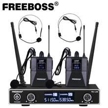 Freeboss – système de Microphone sans fil à fréquence fixe UHF à double sens, avec 2 pièces Bodypack + 2 pièces lavalier et casque, Microphone de discours