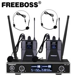 Freeboss FB-U35H2 Dual Way UHF Fixed Frequency Wireless Microphone System with 2pcs Bodypack + 2pcs lavalier&headset Speech Mic