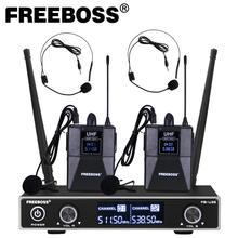 Freeboss FB U35H2 듀얼 웨이 UHF 고정 주파수 무선 마이크 시스템, 2pcs Bodypack + 2pcs lavalier & headset Speech Mic