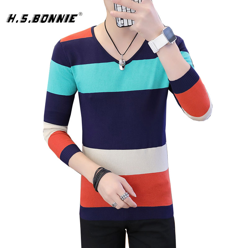 2019 NEW Winter Casual Men's Sweater O-Neck Striped Slim Fit Knittwear Mens Sweaters Pullovers Pullover Men Pull Homme