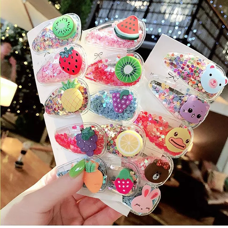 5Pcs/Pack Fruit Hair Clips For Girls Kids New Transparent Hairpins Fashion Children PVC BB Clips Cartoon Animal Hair Accessories