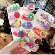 5 unids/pack pinzas de pelo de fruta para niñas niños nuevos horquillas transparentes moda niños PVC BB Clips de dibujos animados Animal accesorios para el cabello