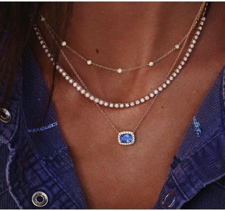 New Hyperbole Maple Leaf Egyptian Pharaoh Beauty Pyramid Necklaces & Pendants Women Multilayer Heart Chokers Fashion Jewelry