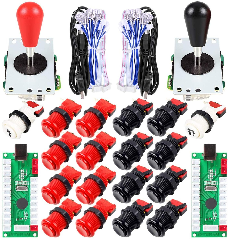 2 игрока Ellipse Овальный аркадный джойстик + аркадные кнопки типа Happ в американском стиле для ПК MAME Raspberry Pi красный черный