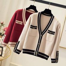 Fashion large size womens loose stitching button cardigan Casual Coat V-neck sweater slim Female Office Lady coat