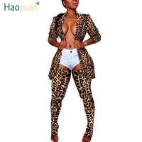 HAOYUAN размера плюс Камуфляжный леопардовый комплект из двух предметов для женщин рейв фестивальный топ брюки осень 2 шт одинаковые комплекты...