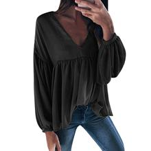 Fashion V-neck Cotton Blouse Long Sleeve Women Casual Linen Pleated