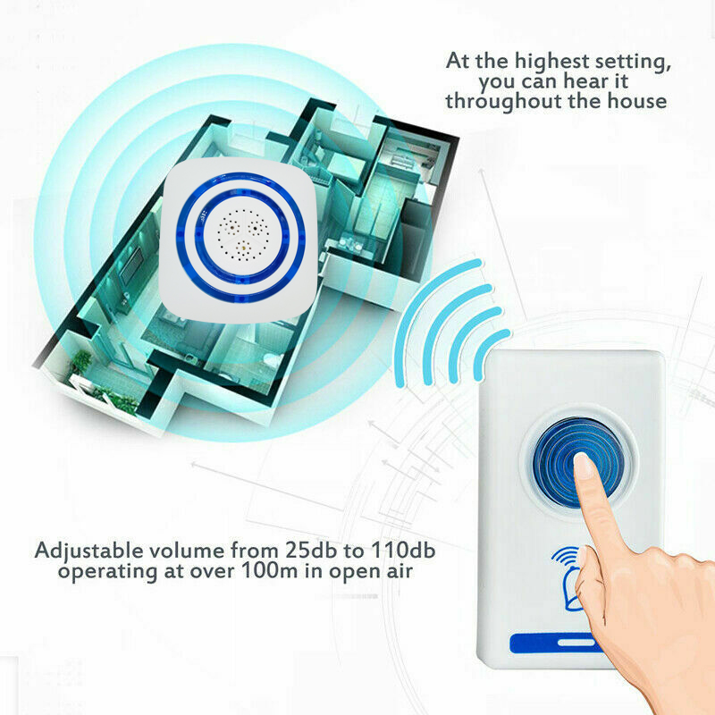 Ring Wireless DoorBell Flashing LED Light loud Speaker door chime kit Remote control Home Hotel digital Smart musical Doorbells