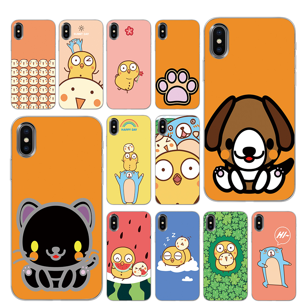 Cute <font><b>Chicken</b></font> Dog bear cartoon comic Silicone Phone <font><b>Cases</b></font> for <font><b>iPhone</b></font> 5 5S SE <font><b>6</b></font> 6s 7 8 Plus X XS Max XR Back Cover image
